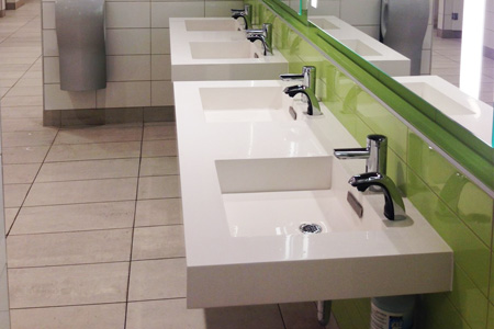 multiple hand washing stations
